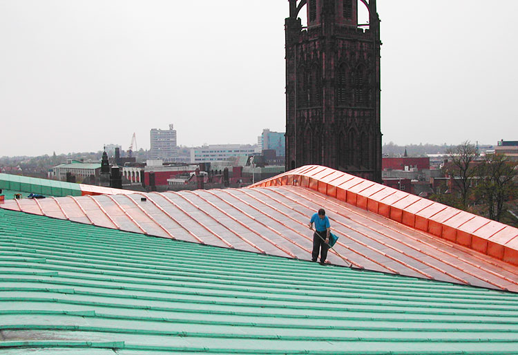 Half green half brown copper roof
